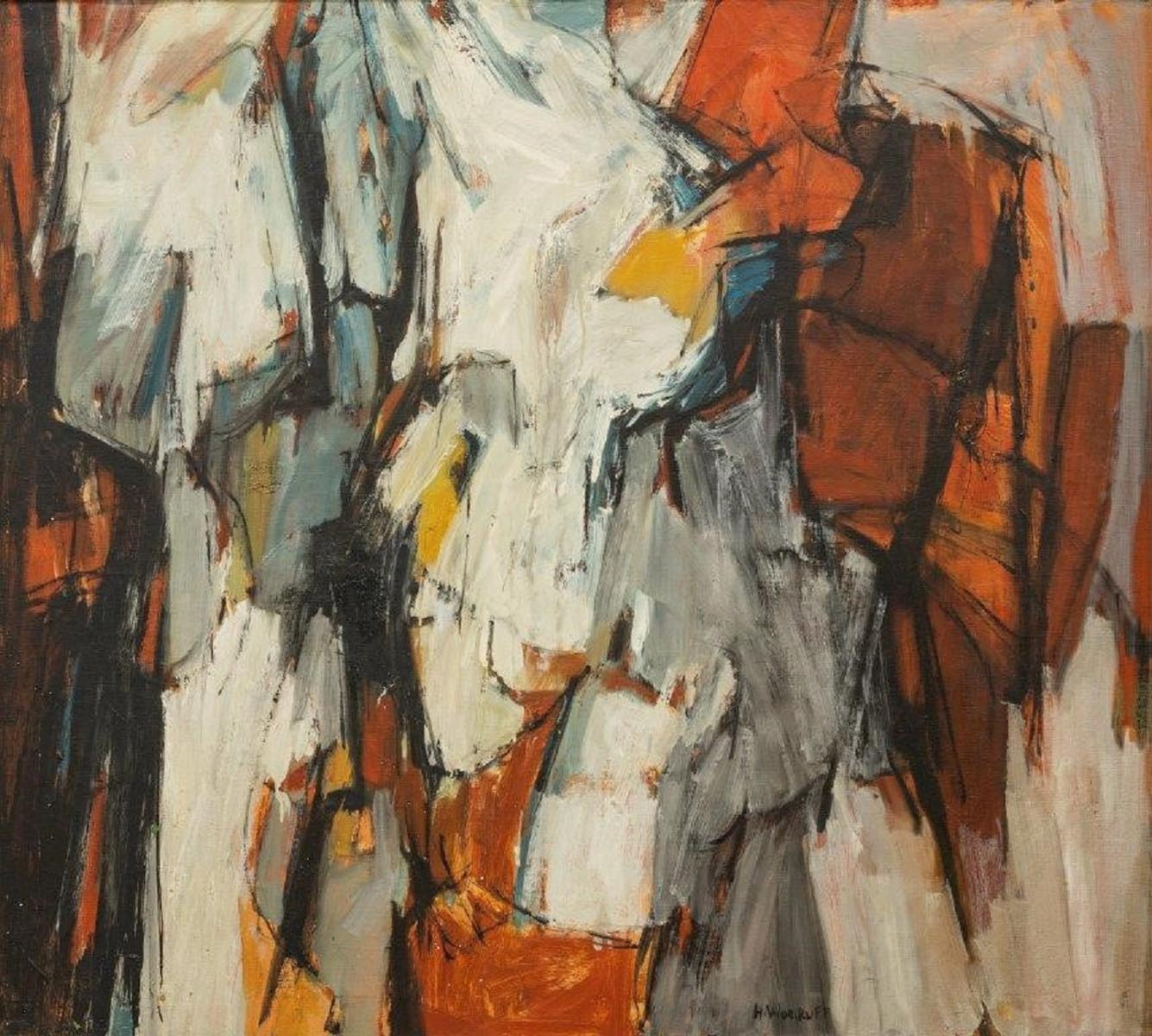 Hale Woodruff, Two Figures Abstraction, 1958. Oil on canvas.