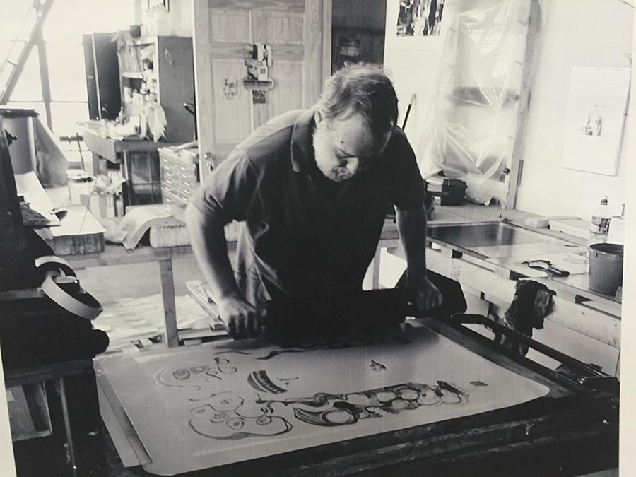 "James Reed, subject of the film ""A Story In Stone,"" at work with stone lithography in his Milestone Graphics studio in Bridgeport, CT."